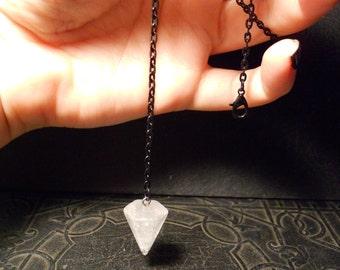 Clear Quartz Point Divination Dowsing Pendulum Black Necklace Fortune Teller