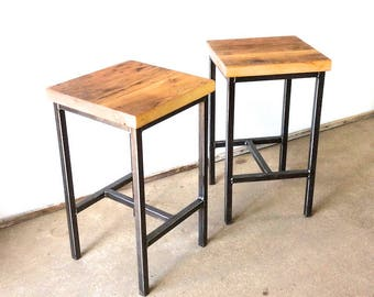 Reclaimed Wood Bar Stools / Backless Pine Wood With Hand-Welded Steel Frame - Set of Two