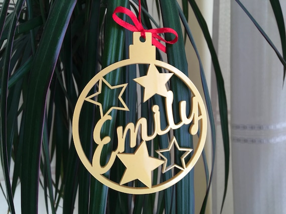 Christmas Tree Decorations Personalized name bauble Custom Christmas ornament Xmas Bauble Christmas Bauble Christmas Stars Personalized gift