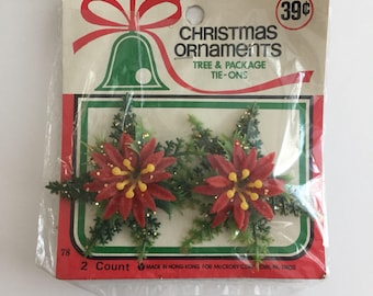 Vintage Unopened Plastic Christmas Holly / Poinsettia Tree and Package Tie-Ons- Millinery - Craft Supplies, Wreath, Ornaments