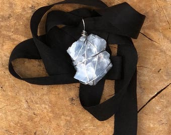 "Blue Calcite 24"" Black Silk Ribbon You Tie Necklace"