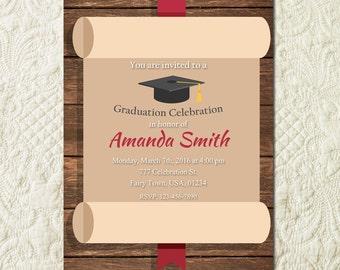 Rustic Graduation Invitation Grad Party Grad Announcement Senior College High School Ceremony Graduation Party Invite Invitation Card
