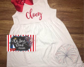 Girl's Patriotic Fireworks Embroidery Dress with Monogram; Personalized