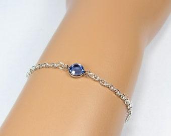 Birthstone Bracelet, Birthday Gift, Silver Bracelet, Gold Bracelet, Crystal Bracelet