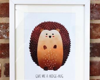 Hedgehog Picture, Hedgehog Art, Hedgehog lover Gift, Give Me a Hedgehug, Kids bedroom decor, Playroom Decor, Woodland Animals, Quote Print