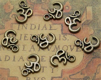 60pcs bronze tone OM Pendant Necklace Yoga Zen 10.5 x 16mm ASD0017