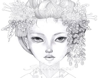 Grayscale Art Digital Stamp Image Adult Coloring Page Printable Instant Download - Kanzashi Girl