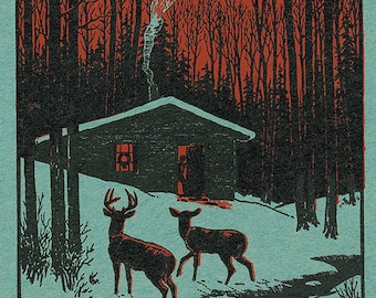 Deer and Cabin in Winter - Oregon Woodblock (Art Prints available in multiple sizes)