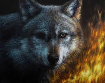 Still Burnin' | Original Wolf Painting | Unique Animal Art 100% Hand Painted by Roberto Rizzo