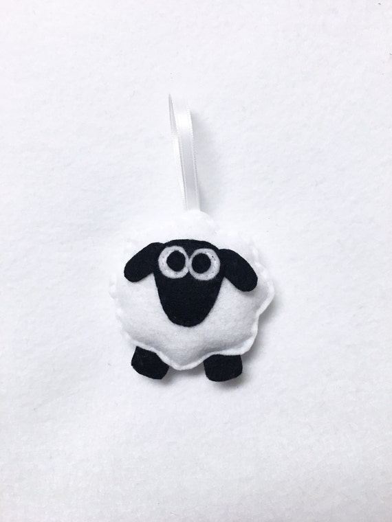 Sheep Ornament, Christmas Ornament, Sherman the Sheep, Farm Animal, Felt Ornament