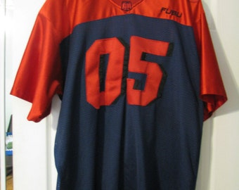FUBU jersey, vintage blue t-shirt old school of 90s hip-hop clothing, 1990s OG, gangsta rap, size M, RARE!!!