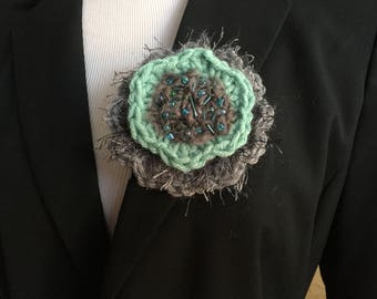 Gray and teal  brooch one of a kind handmade pin
