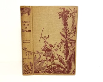 Hollow Book Safe Jungle Tales of Tarzan Cloth Bound vintage Secret Compartment Keepsake Hidden Security Box