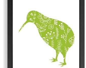 Kiwi Bird Art Print, Nursery Bird Print,Green Kiwi Bird Print, Bird Wall Art, New Zealand Bird, Kiwi Wall Art,Kids Wall Decor, Baby Gift