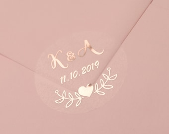 Real Foil Wedding Stickers, Semi Transparent Labels, Rose Gold Favour Stickers, Custom Wedding Stickers, Personalised Envelope Seals, D7