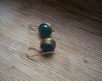Brass earrings // Blue agate // agate earrings // agate jewelry // brass accessories // brass jewelry