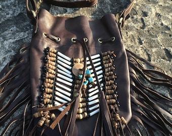 Boho leather bag, Fringed leather bag, Native American inspired leather bag,Indian style leather bag, Medium dark  brown leather bag
