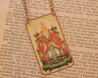 Lao Tzu necklace Chinese philosopher Tao Te Ching Taoism jewelry mixed media jewelry