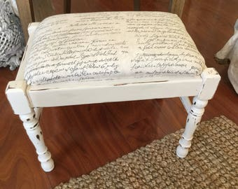 Vintage Footstool French Script