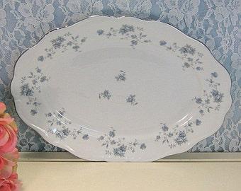 Blue Garland Johann Haviland China Serving, Turkey, Meat Platter, 1970s German Porcelain Dinnerware, Blue Floral Pattern, Vintage Dinnerware