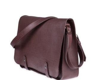 MESSENGER BAG in full grain dark brown leather, Leather  briefcase, custom monogram bag