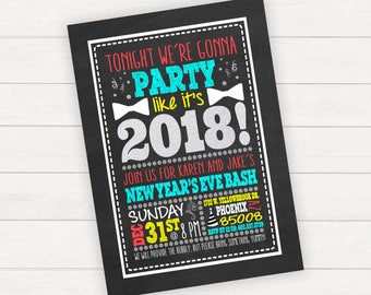 Bubbly New Years Invitation New Years Party Invite New Years