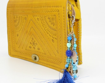 Yellow tooled leather bag,Leather crossbody bag, leather bag, crossbody bag, crossbody purse  , sacoche femme, sac bandouliere