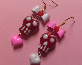Red and Pink Valentine Day of the Dead Earrings - Cute mis-matched ceramic skull earrings, with hearts & bows - Alternative Valentine's Day!