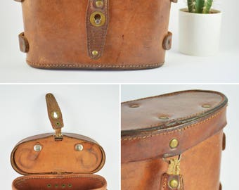Antique Genuine Leather Binocular Case, Vintage Belt Case, Leather Hip Bag, Leather Case Fanny Pack, Leather Box, Binocular Travel Pouch