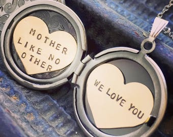 Custom locket necklace, We love you, Personalized jewelry, hand stamped, Mother Like No Other, We love you necklace, Mother's Day gift