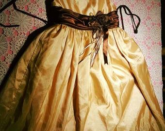 Girls special occupation dress in gold /flower girl dress/special events dress/gold and brown satin dress/princess dress/ photo shoot dress