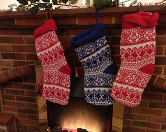 Christmas stocking knitted tradittional Red Blue Mantel Decor