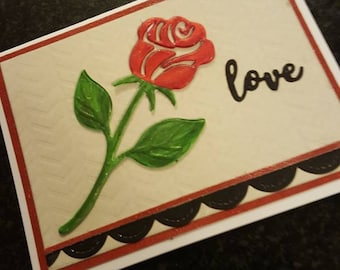 Handmade Dimensional Rose Love Greeting Valentine Wedding Birthday card
