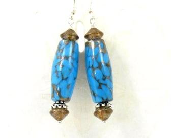 Blue Earrings Long Dangle Bronze Crackle Lampwork Glass Handmade