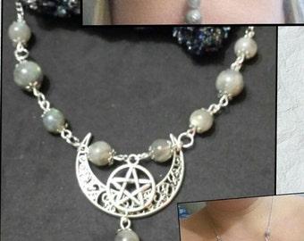 Crew neckline, tiara, wicca, wiccan, pagan, paganism, pagan jewelry, labradorite, witch, wicca