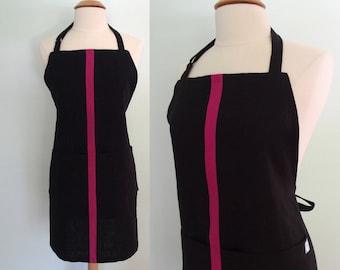 Black Linen Apron with Dark Pink Racing Stripe and Pockets, Bar Apron, Barista, Restaurant Apron, Waitress Apron, Match your Color Scheme