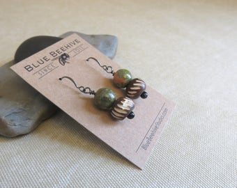 EBX12-18: Drop and dangle earrings, Ukanite stones and wooden, earth tones, brown and green earrings, heart chakra, green stones and wood