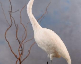 Great Egret wool felted handmade bird
