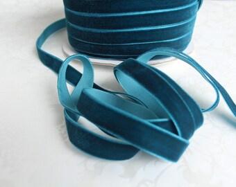 1/2 inch  Dark Teal Velvet Ribbon / Blue Green Velvet /   VRPH-065
