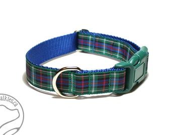 """Rose Clan Tartan Dog Collar - 1"""" (25mm) Wide - Blue Green Plaid - Scottish Tartan - Martingale or Side Release - Choice of style and size"""