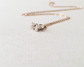 Raw Diamond Cluster Gold Necklace - Rough Cut Tiny Silver Genuine Diamonds Wire Wrapped Small Eternity Circle Pendant 14k Gold Fill Gift