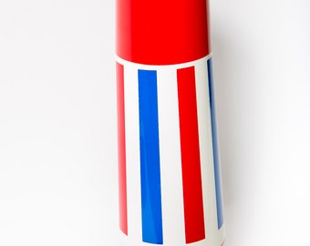 Patriotic Thermos Red White and Blue Stripe 1970s