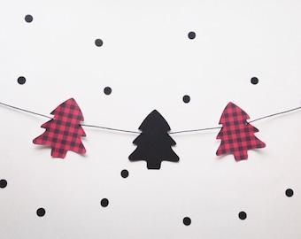 Buffalo plaid tree garland - paper garland - lumberjack party decor - Christmas Decor - Mantel banner - Holiday - Christmas tree -photo prop