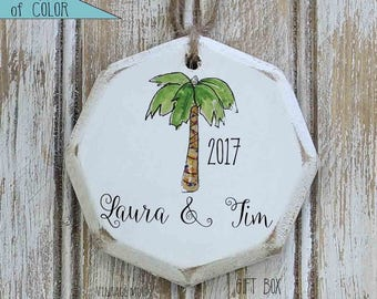personalized Christmas palm tree ornament, tropical christmas decor, Christmas ornaments, desert Christmas ornament