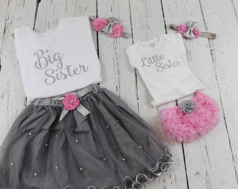Big Sister Little Sister Outfits Big Sister Little Sister Set Annoucement Shirt Outfit Pink Grey Tutu skirt Headband Little Sister Bloomers