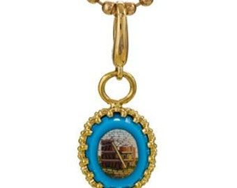 Antique Micro Mosaic 14k Charm Pendant Necklace
