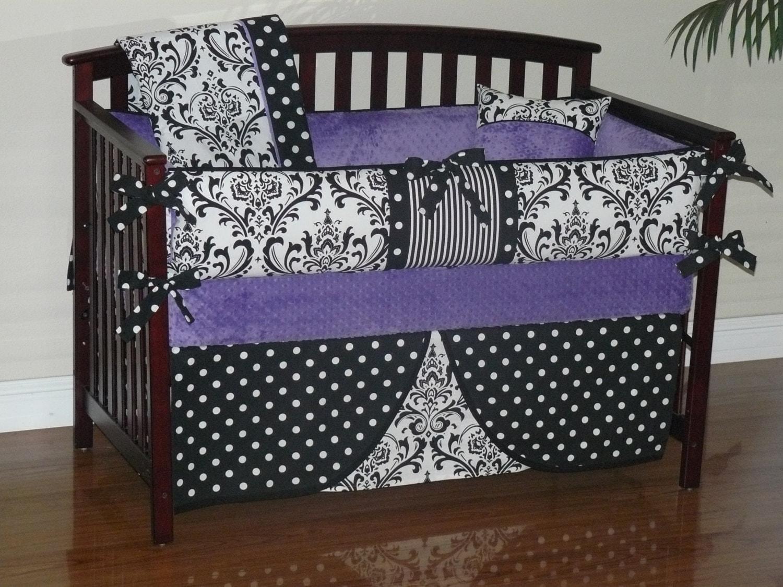 ?zoom & Custom Crib Baby Bedding 3-5pc. Bedding Set Purple Minky