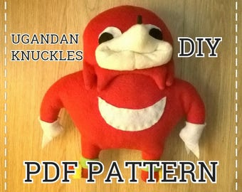 PDF DIY sewing pattern for Ugandan Knuckles handmade plush toy vrchat sonic  meme st valentine gift