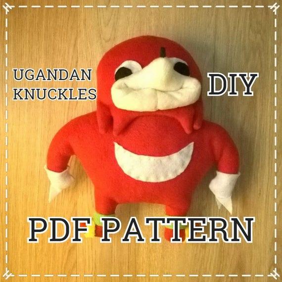 PDF DIY sewing pattern for Ugandan Knuckles handmade plush toy vrchat sonic  meme st valentine gift uganda