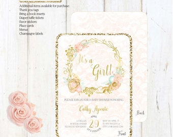 Printed Baby Shower Floral Invitation. Customizable for all parties.